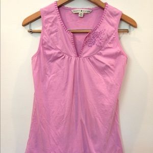 Tommy Hilfiger pink sleeveless floral knit top MED